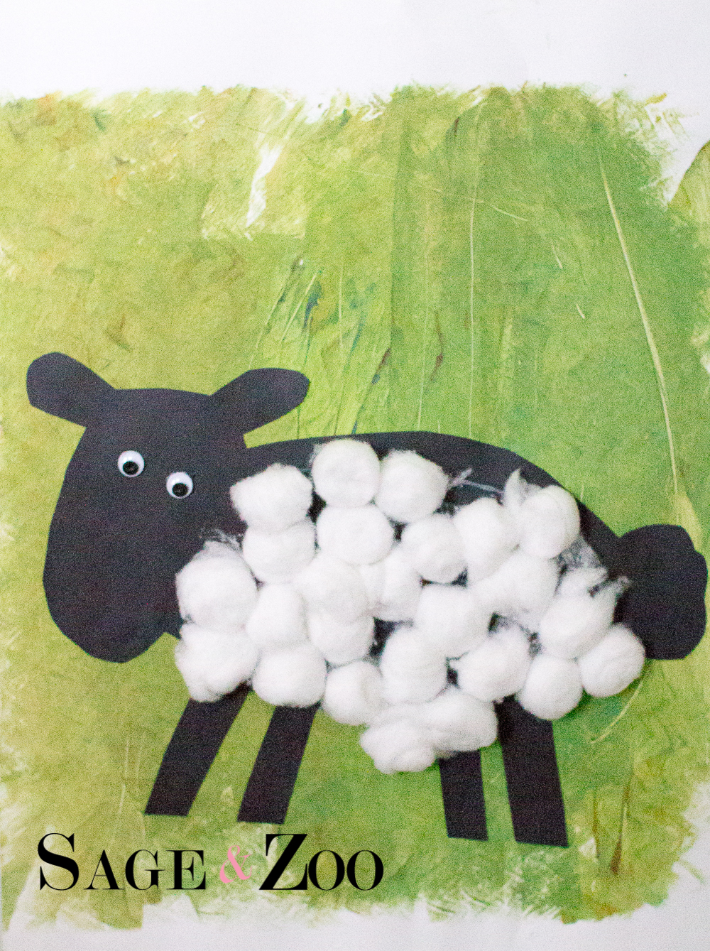 Wooly Sheep Art Project for Toddlers- Finished Project