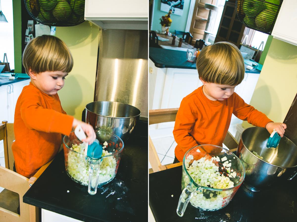 My Helper- Adding the apples